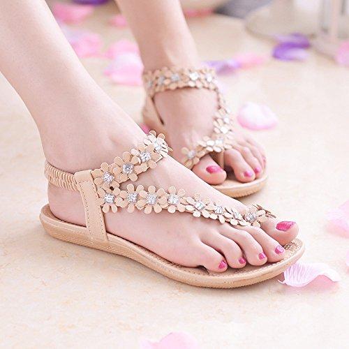 Sandali della Donna fiore piedi rosa yalanshop ragazze pantofole confortevole elastico sandali 39 fragile donne piana base cool fascetta 05dwwqA
