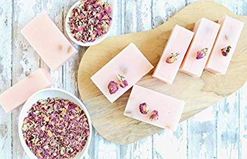 Zaaina - 100% Natural Rose Petal Soap Bar - Handmade, Vegan Rose Bud Soap - Dried Flower Petals Soap Bar - Skin Beautifying Rose Water Soap With Moisturizing Oils and ()