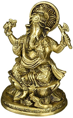 Indian Accent 5 Inch Ganesh, Ganpati, Indian Hand Crafted Religious Sculpture of Ganesha Statue, Weight 2 LB, 5 X 3.2 X 2.8 inches