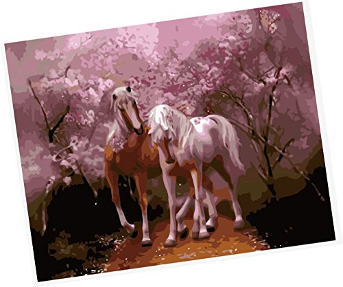 Black Horse Cherry Tree Guitar (Wowdecor Paint by Numbers Kits for Adults Kids, Number Painting - Lovers,Two Horses Fall in love Under the Pink Tree 16x20 inch (Framed))