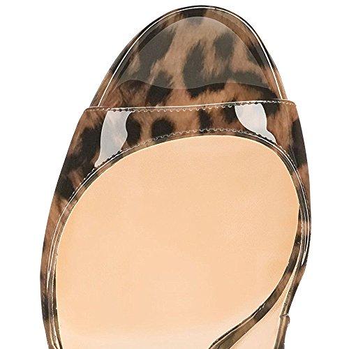 Modemoven Vrouwen Lakleren Pumps, Peep Toe Hakken, Slingback Sandalen, s Avonds Schoenen, Leuke Stiletto Luipaard Zwart