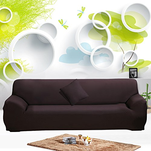 JIAN YA NA Stretch Sofa Covers Polyester Spandex Fabric Slipcover 1pcs Polyester Fabric Stretch Slipcovers + 1pcs Pillow Covers for 4 Seater Sofa Cover Couch (Coffee) (Leather 3 Seater Sofa)