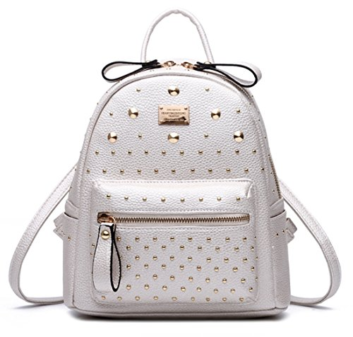 Santwo Women's Mini Rivets Waterproof PU Leather Shoulder Bag Casual Daypack Backpack (white)