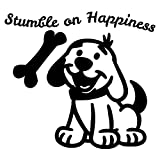 Dog wall art is Green Vinyl Wall Decals. Cute dog posters show happy dog with a bone stumble on happiness. Dog wall art are wall decal stickers for kids room wall decals and baby room wall decals.