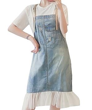 Mujer Vestidos de Vaqueros Largo Falda de Mezclilla Vestido de Jean con Gasa sin Tirantes 5XL