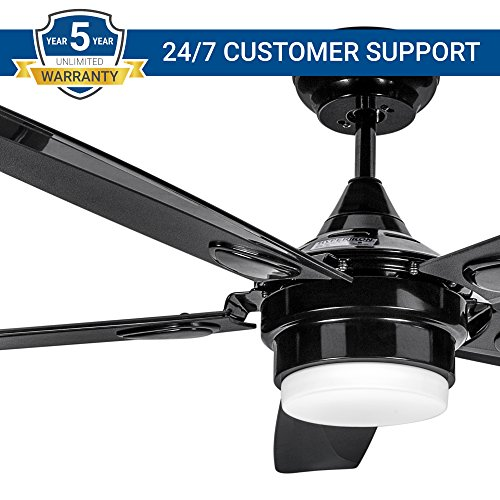 Hyperikon 56 Inch Black Ceiling Fan with Light, 38W, Modern Industrial Hugger, 5 Blades, 4000k Daylight LED, with Remote Control
