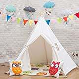 Loisleila Prince Teepee Child Indian Tent Girl Game House Wigwam Cotton Teepee Play House toy tent Play Room White