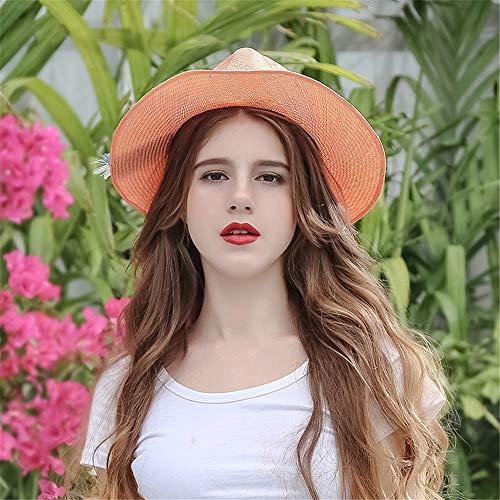Mujeres Mujer Uv tamaño Paja Sol Para De Vaquero Metro sombrero Sunscreen Naranja Mujer Playa Licyen Sombrero Las Sombreros Beach Gorra qUzYxwAAI