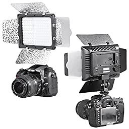 Bestlight W160 LED Photo Studio Barndoor Light Continuous Lighting Panel Kit LED Video Light Kit for Sony, Canon, Panasonic, Hitachi, Samsung& Similar DSLR Cameras - Including (2) W160 LED barndoor video light with 2 color Honeycomb Gel, (2) Aluminum Phot
