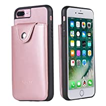 iphone 7 plus case, Acrass iphone 7 plus wallet case with back pocket card holders, for iphone 7 plus (5.5inch) synthetic leather case,rosegold.