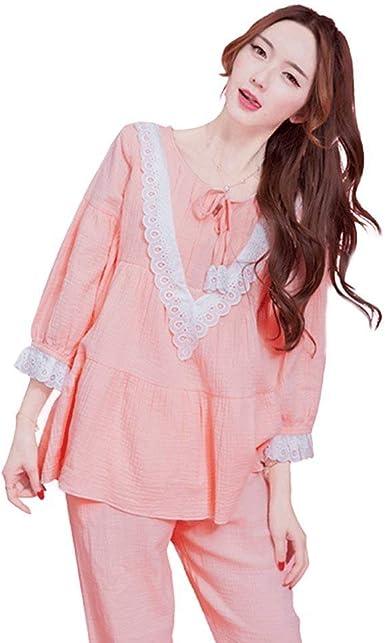 Mujer 2 Juegos Bandage Pijama Manga Larga Splice Encaje Elastische Taille Cuello Redondo Joven Pantalones De Pijama Camisas Women (Color : Pink, Size : M): Amazon.es: Ropa y accesorios