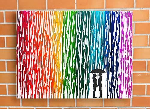 Lesbian Wedding Gift Rainbow Melted Crayon Art Gifts For Lesbian Couple In The Rain Painting 16x20quot