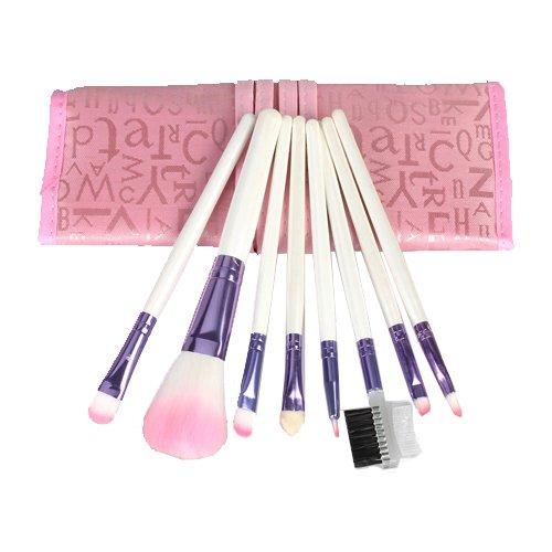 8pcs Pro Rose pinceaux de maquillage avec mallette