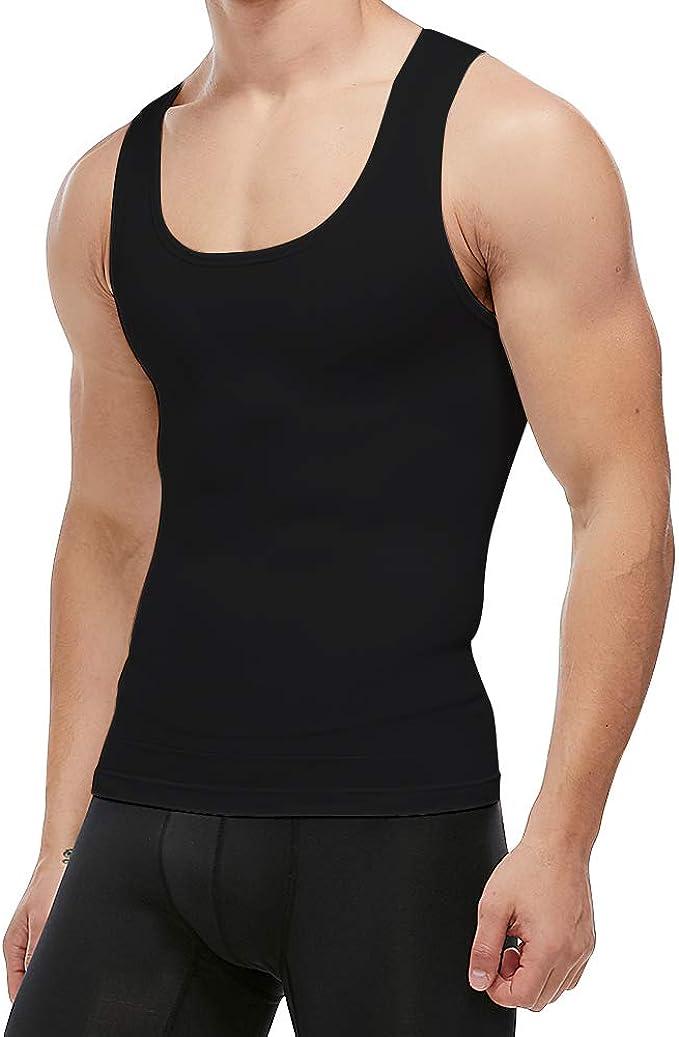 Men/'s Seamless Slimming Body Shaper Vest Abdomen T-Shirt Compression Gym Tank US