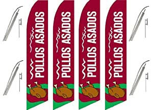 Four (4) Pack Swooper Flags & Pole Kits Pollos Asados Maroon White Green Roast Chicken