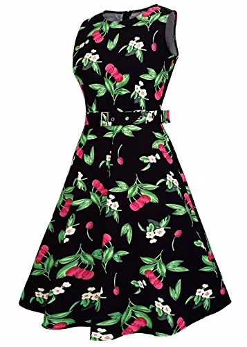 Abito da donna Vintage 1950 Floral Lemon Spring Garden Cocktail Party Dress Cherry