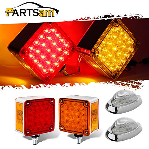Partsam Square Double Face LED Pedestal Light Stud Mount Fender Stop Turn Tail Parking Lights 52LED + 2pcs 15LED Freightliner Side Marker Turn Lights for Peterbilt Kenworth Volvo Heavy Duty Trucks ()