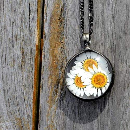 Large Handmade Daisy Pendant, Real Pressed Daisies, Nature Lover Gift, Artisan Necklace for Women April Birth Flower 2784