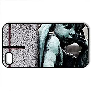 Angel Statue - Case Cover for iPhone 4 and 4s (Ancient Series, Watercolor style, Black)