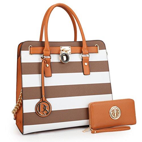 MKY Padlock Stripe Satchel Handbag Designer Purse Multicolor-Coffee and White w/Matching Wallet Chain Shoulder Strap