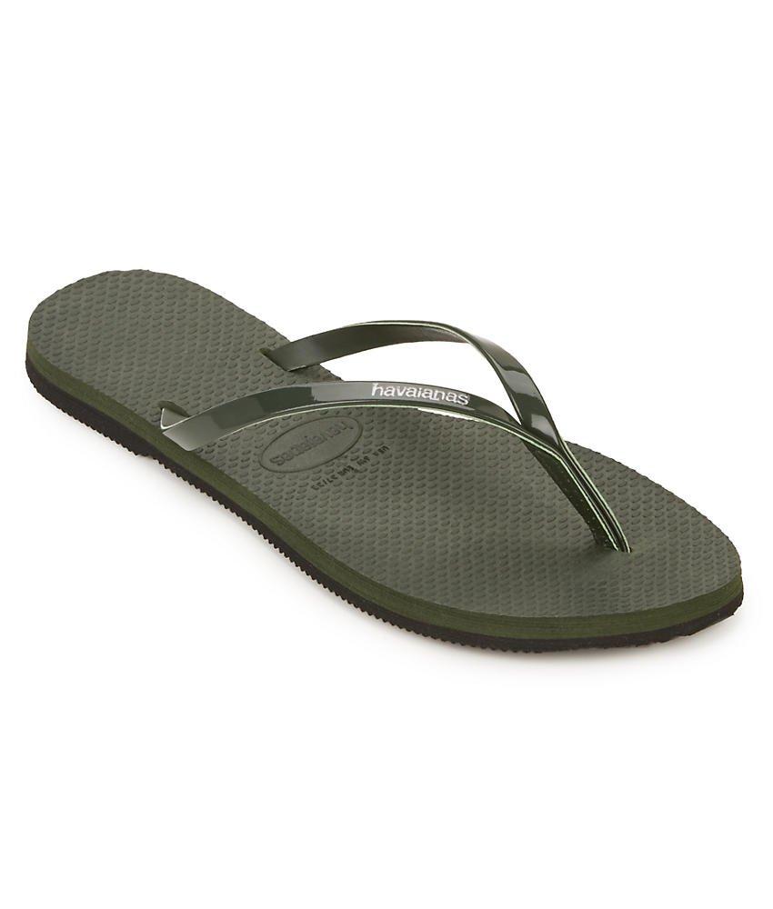 Havaianas Womens You Metallic Flip Flop Sandal Green Olive Size 37-38 BR/7-8 B(M) US