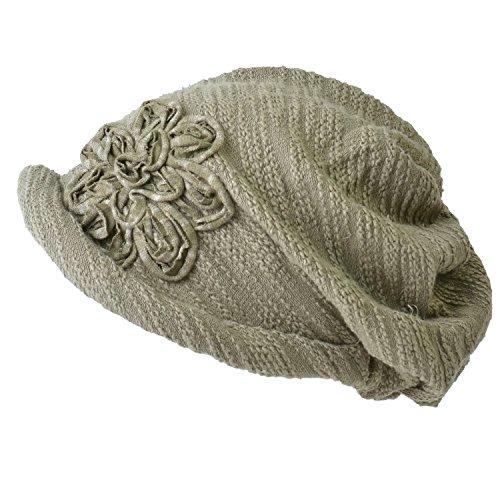CHARM Casualbox | Womens Slouchy Beret Watch Cap Beanie All Season Slouch Beanie Baggy Flower Hat Light Khaki
