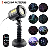 Imbeang 8 Pattern Garden Laser Light, Moving Red,Green and Blue Light with RF Remote Control and Security Lock Waterproof Outdoor Laser Christmas Light Projector for Party,House,Holiday,Halloween