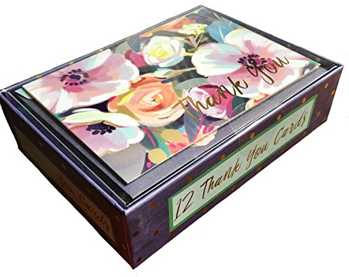 Punch Studio Boxed Set of 12 Thank You Blank Note Cards, Painted Flowers 12267