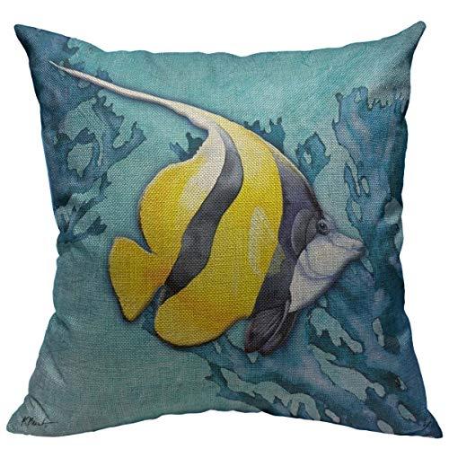 oFloral Tropical Fish Pillow Cover Sea Animal Decorative Throw Pillow Case Cotton Linen Square Cushion Cover Home Decor for Sofa Bedroom Livingroom 18