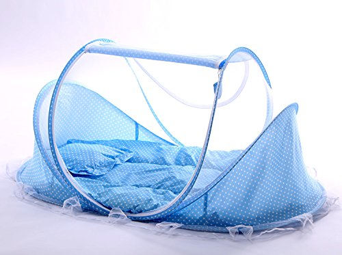 Baby mosquito cover free to install portable yurts foldable stent with cushions Carry Bag,Insect Protection Repellent, 100% Satisfaction Guarantee (Blue)