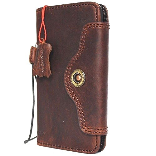 Genuine Vintage Leather Case for iPhone x Book Wallet Handmade Soft Closure Cover S Luxury 60s Holder Cards Slots Magnetic Slim Retro Brown DavisCase