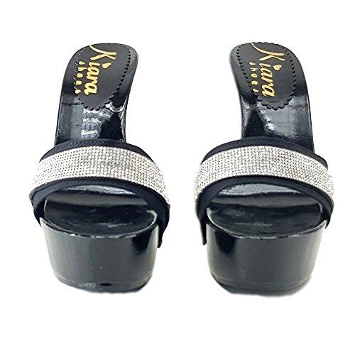 kiara shoes Clog Black With Strass Heel 13 cm - k95011 jnUL65NMvz