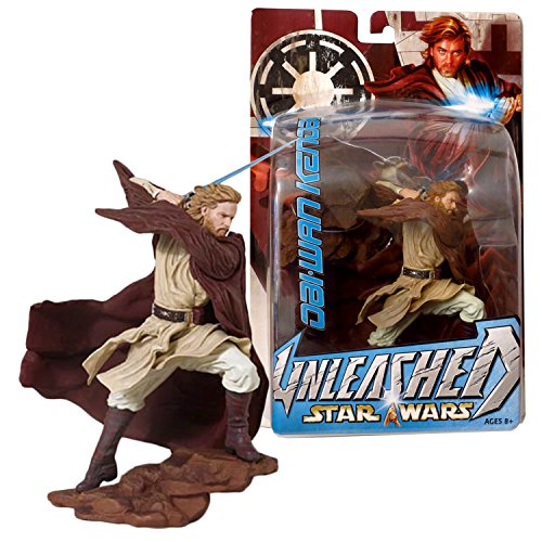 SW Star Wars Year 2004 Unleashed Series 6-1/2 Inch Tall Figure : OBI-WAN KENOBI with Lightsaber and Rock-Shaped Display Base