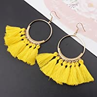 Fashion Women Bohemian Earring Vintage Long Tassel Fringe Dangle Earrings LOVE STORY (Yellow)