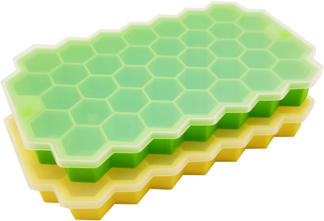 Silicone Ice Cube Trays with Removable Lid for Freezer, Set of 2, Easy Release and Flexible Mold BPA Free Baby Food Storage No Odors and Stackable Dishwasher Safe (37 Comb Green Yellow)