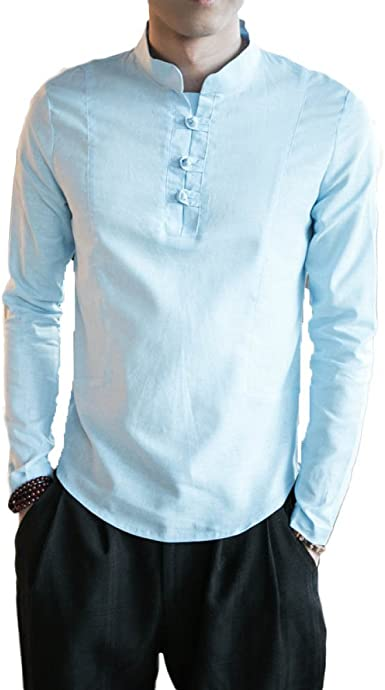 GHGJU Camisa De Hombre Camisa De Verano Casual Camisa De Estilo Chino Camisa Retro De Algodón: Amazon.es: Ropa y accesorios
