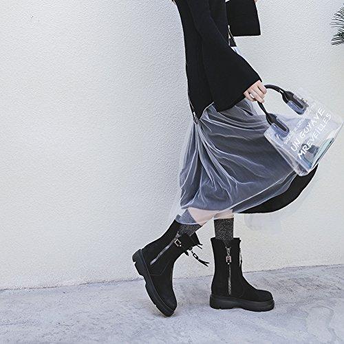 Booties Chelsea Stiefel Black WSXY 38 KJJDE Winter Q1919 Komfort Damen Absatz Stiefel Flacher Herbst 5pWPX4qw