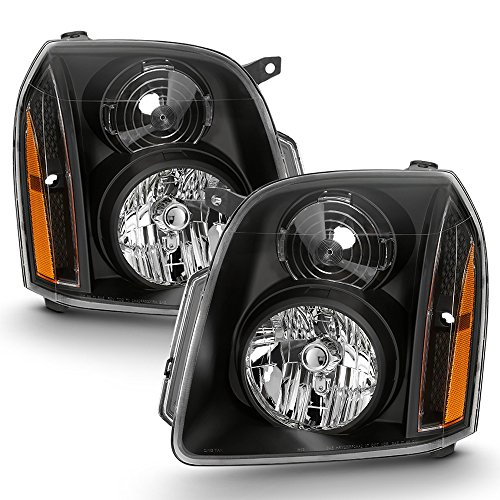 ACANII - For Black 2007-2014 GMC Yukon XL [Denali Style] Headlights Headlamp Driver + Passenger Side 07-14