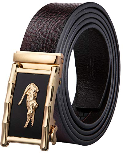 DiBanGu Ratchet Belt for Men Genuine Leather Sliding Mens Belt Removable Buckle Red Belt Strap Gift