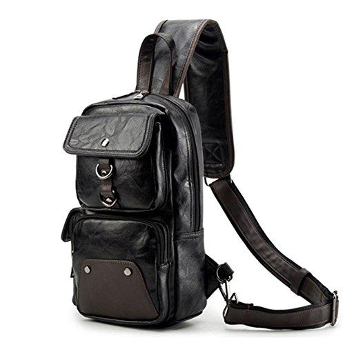 AOLIDA Men Sling Bag Leather Unbalance Chest Shoulder Bags Casual Crossbody Bag Travel Hiking Daypacks