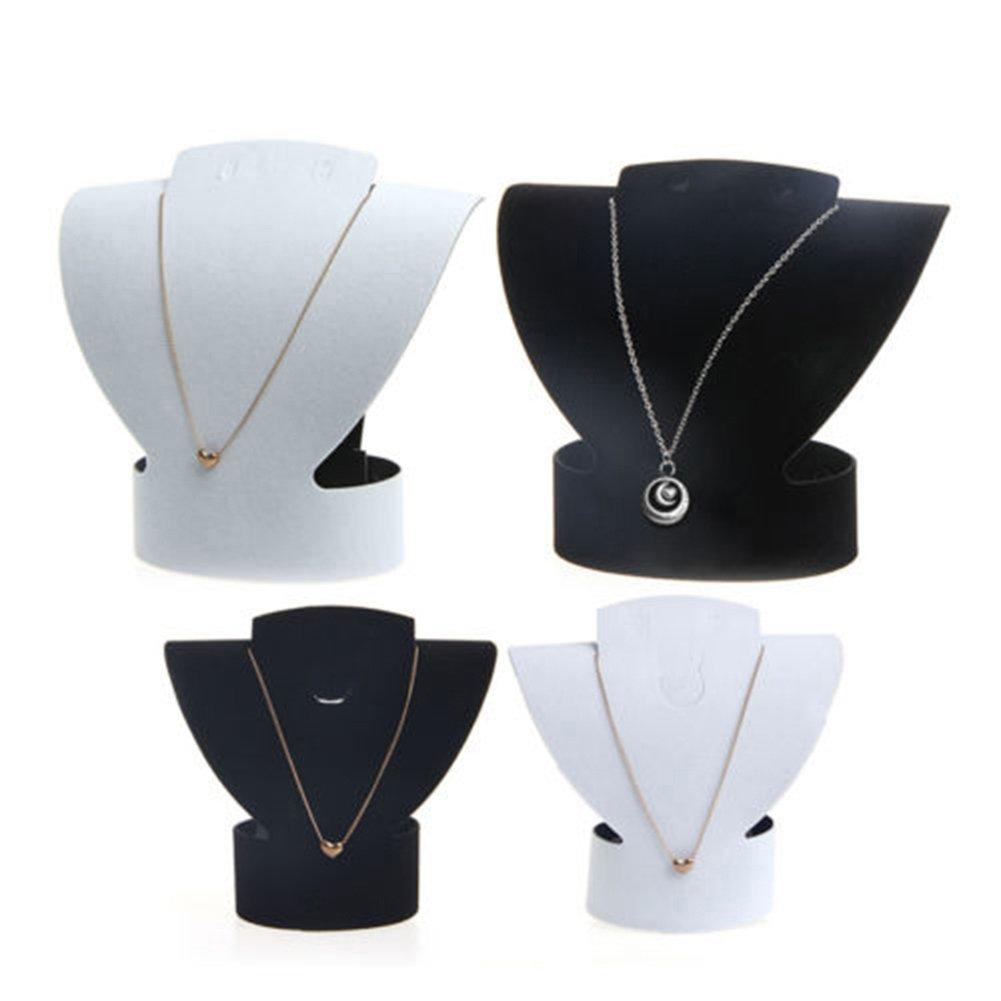 quanjucheer Femme Fille pliable en velours Bijoux Buste de collier boucles doreilles support Rack Show Case Container, Noir, Small
