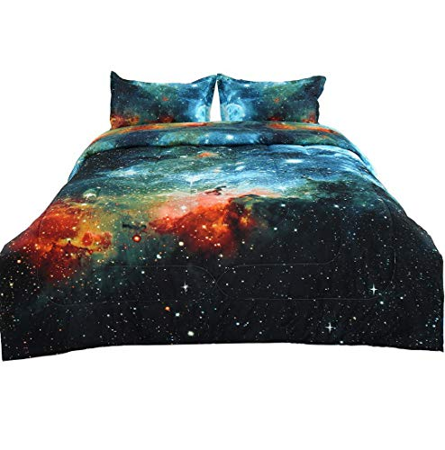 (Hemau Full/Queen 3-Piece Galaxies Blue Comforter Sets - 3D Printed Space Themed - Quilted Duvet - Reversible Design - Includes 1 Comforter, 2 Pillow Sha | Style 503194017)