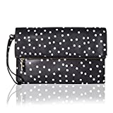 The Lovely Tote Co. Women's Polka Dot Fold Over Top Zip Clutch Wristlet Handbag, Black