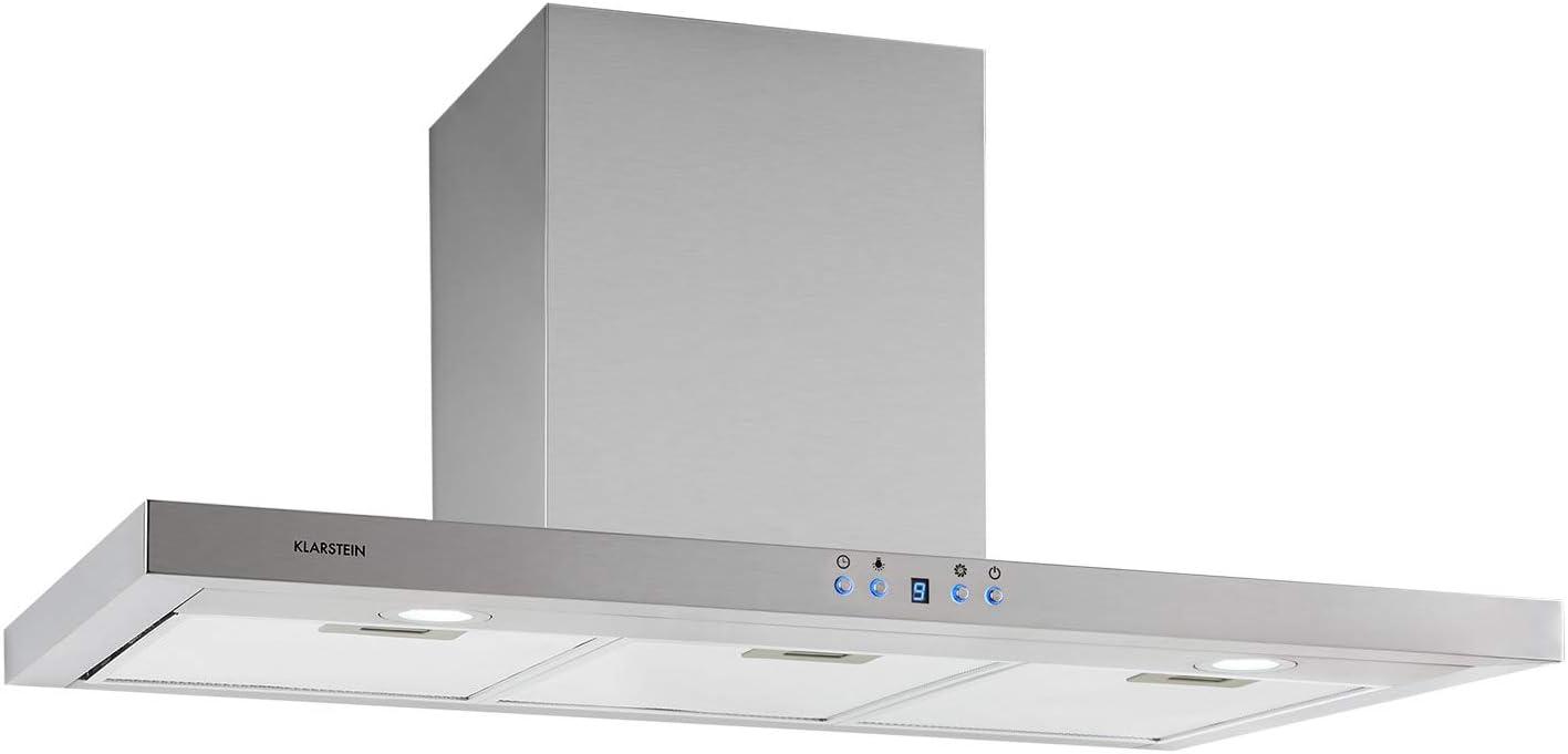 Klarstein Limelight – Extractor de humos, 90 cm, extractor de pared, eficiencia energética de clase A++, extracción, 600 m³/h, 3 niveles de velocidad, iluminación LED, plateado