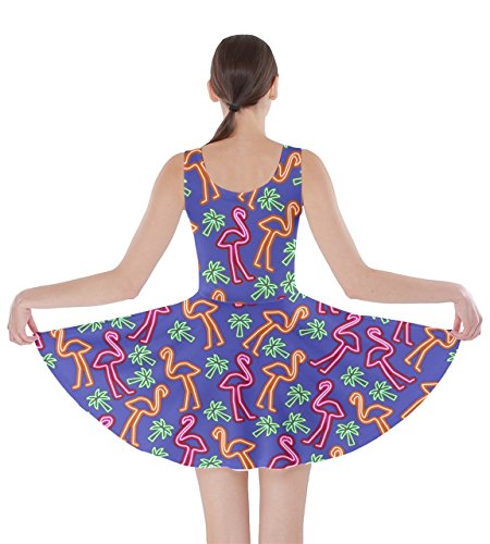 5XL Poolside Womens Beach Tropical Partydress CowCow Flamingo Summer Blue Feather Lights XS Skater Dress Hot Birds qFOxw0F
