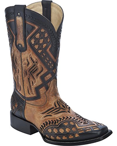Corral Mens Overlay Cowboy Boot Carré Orteil - G1273 Antique Selle