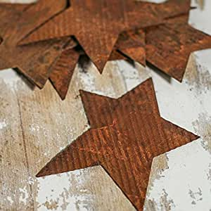 Group of 12 Rusty Corrugated Tin Primitive Star Cutouts for Crafting, Creating and Decorating