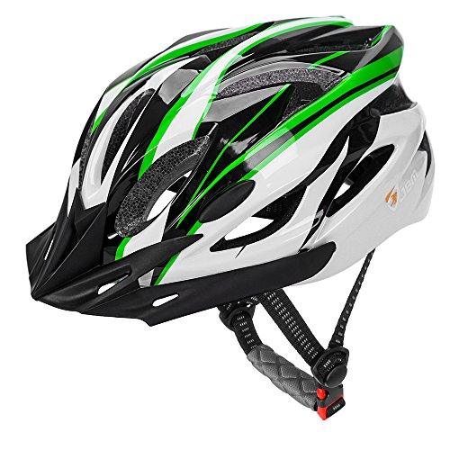 JBM Adult Cycling Bike Helmet, Green/Black/White