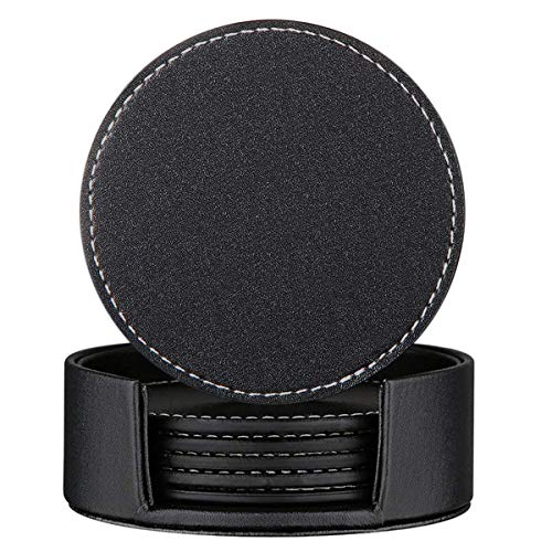 Set of 6 Leather Drink Coasters Round Cup Mat Pad for Home and Kitchen Use Black, 3.94'' by CARLWAY