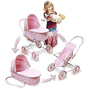Amazon.com : Childs 3 In 1 Baby Doll Carriage Bed Stroller ...